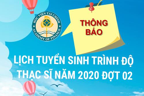 TUYỂN SINH TRÌNH ĐỘ THẠC SĨ NĂM 2020 ĐỢT 02  TẠI HỌC VIỆN TÀI CHÍNH