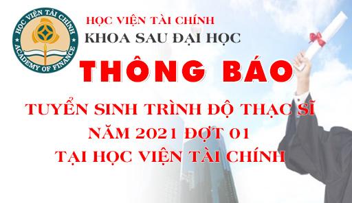 THÔNG BÁO TUYỂN SINH TRÌNH ĐỘ THẠC SĨ NĂM 2021 ĐỢT 01